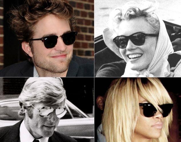 Robert Pattinson, Marilyn Monroe, Robert Redfort and Rihanna among the stars who love to wear their Ray-Ban sunglasses.