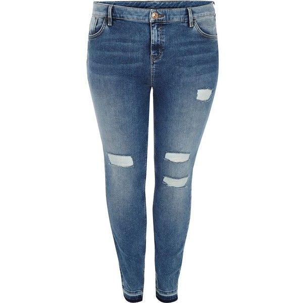 2bf199456e River Island Plus mid blue Amelie super skinny jeans ( 90) ❤ liked on  Polyvore featuring jeans