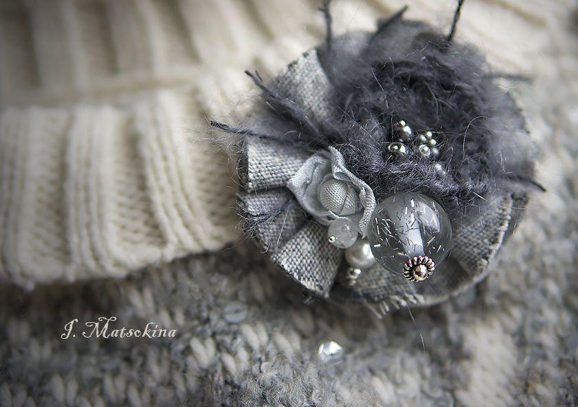 Купить Брошь Туманность - серый, украшения ручной работы, украшение, брошь, брошь цветок, винтаж