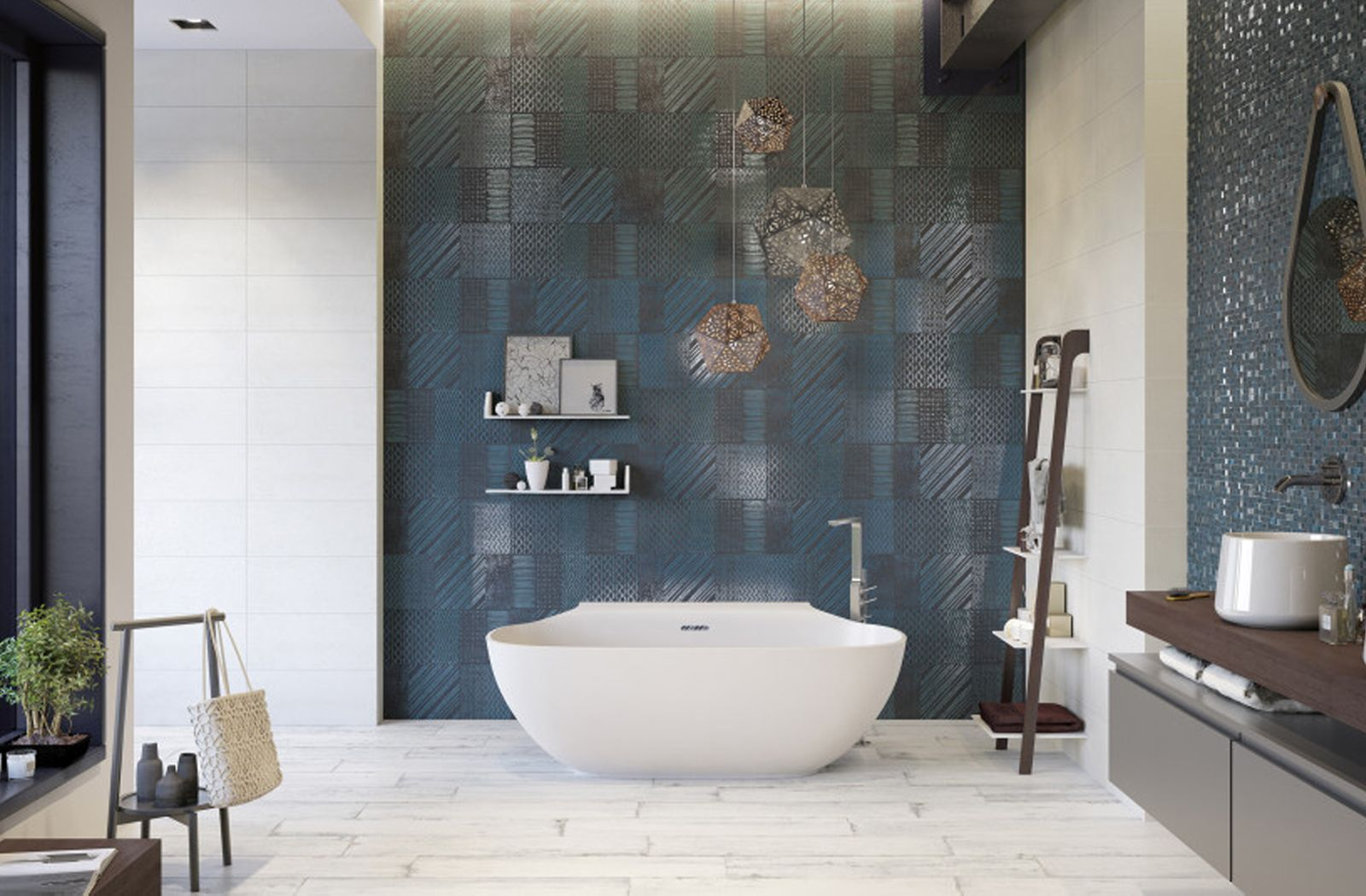 Interesting Blue Feature Wall Tile For Modern Bathroom Design From