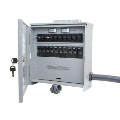 Reliance Controls 7 500 Watt 30 Amp 10 Circuit Outdoor Transfer Switch R310a The Home Depot Transfer Switch Power Inlets Portable Generators