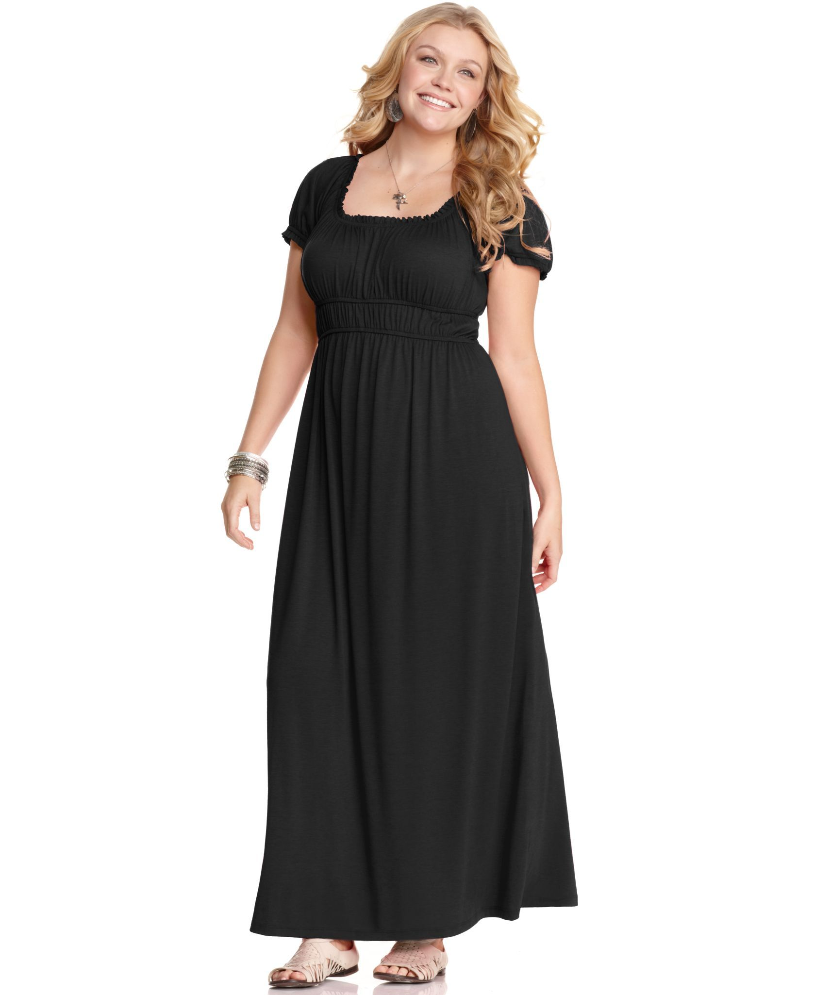 love squared plus size dress, short sleeve empire maxi - plus size