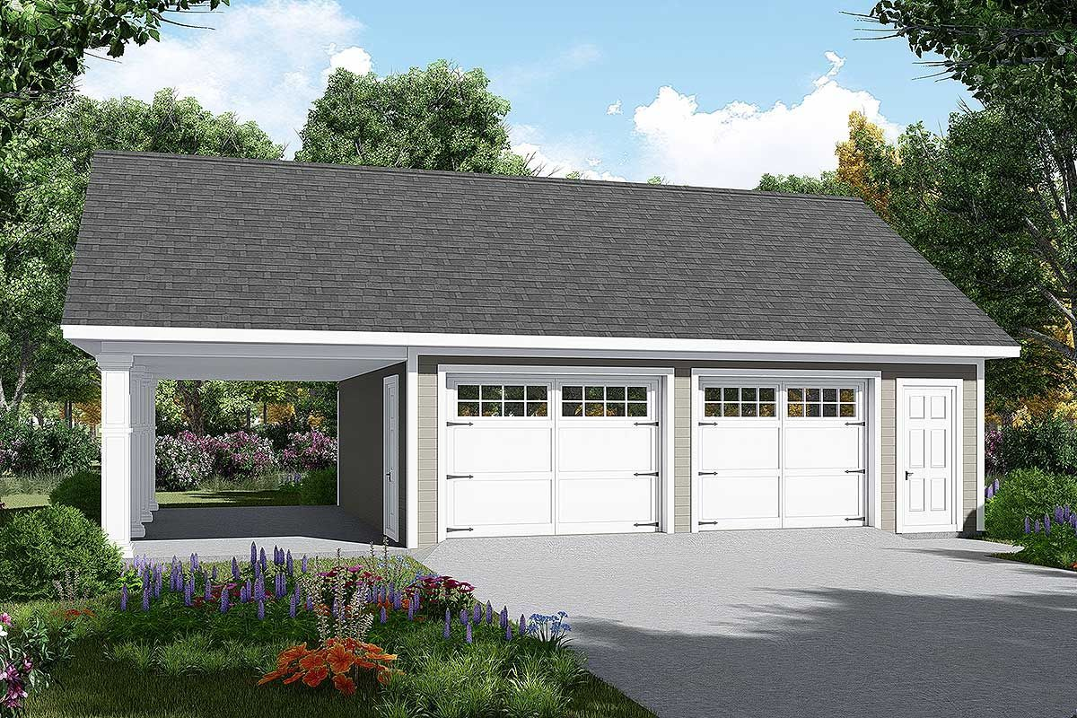 Plan 51185mm Detached Garage Plan With Carport Garage Plans Detached Garage Door Design Detached Garage Designs