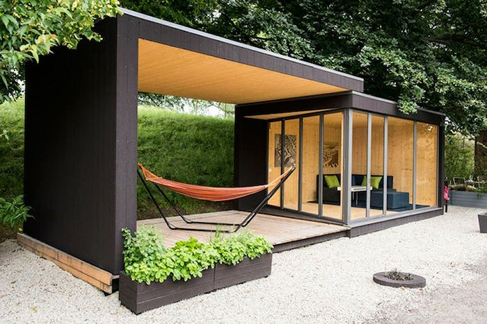 gartenhaus ideen gartenpavillion gerade linien moderne architektur garten pinterest. Black Bedroom Furniture Sets. Home Design Ideas