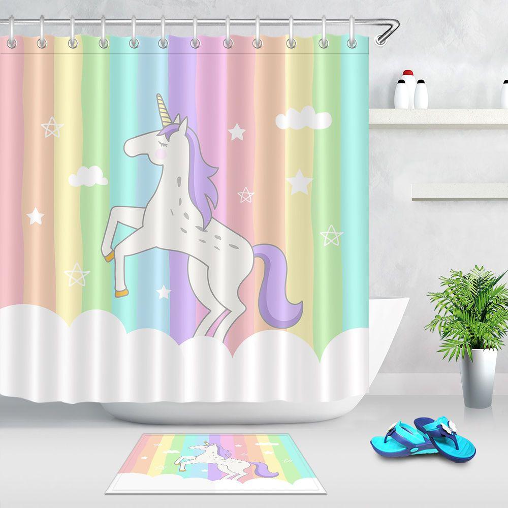 Mythology Unicorns Waterproof Fabric Shower Curtain Liner Bathrooom Mat Set Hook