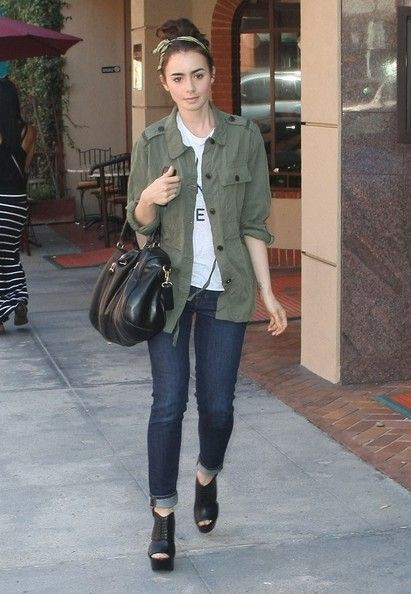 Lily Collins running Errands