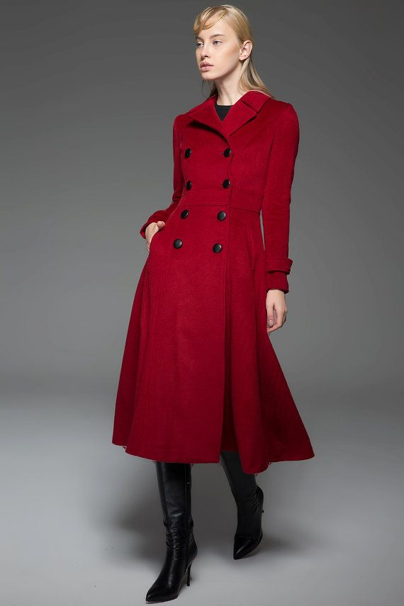 2d86663a5a3 Classic Red Coat Wool Long Full Length Fitted Slim by YL1dress ...