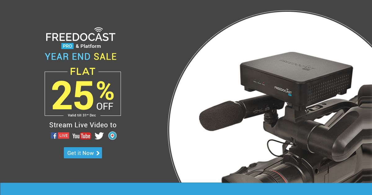 Freedocast offers a discount of 25% on live streaming pro