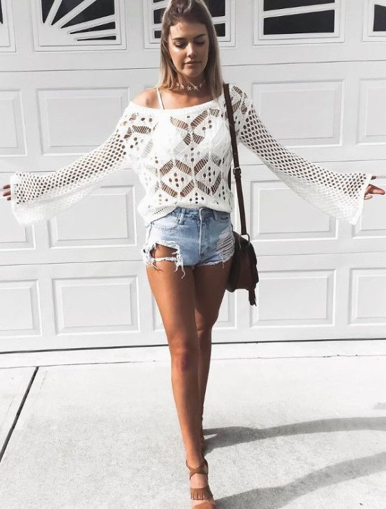 Summer Outfit Idea Ripped Shorts With White Top