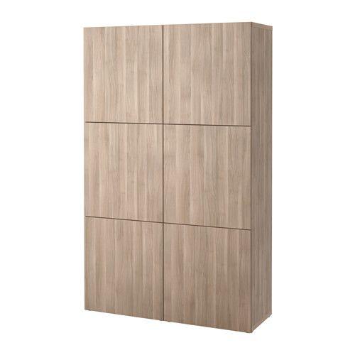 BESTÅ Opberger met deuren, Lappviken grijs gelazuurd walnootpatroon 120x40x192 cm Lappviken grijs gelazuurd walnootpatroon -