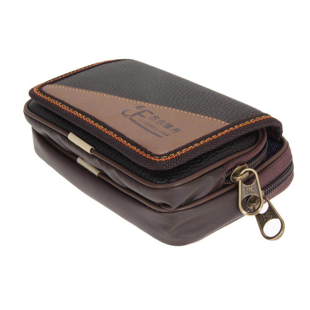 2016 mens leather wallet double zipper pocket wallet