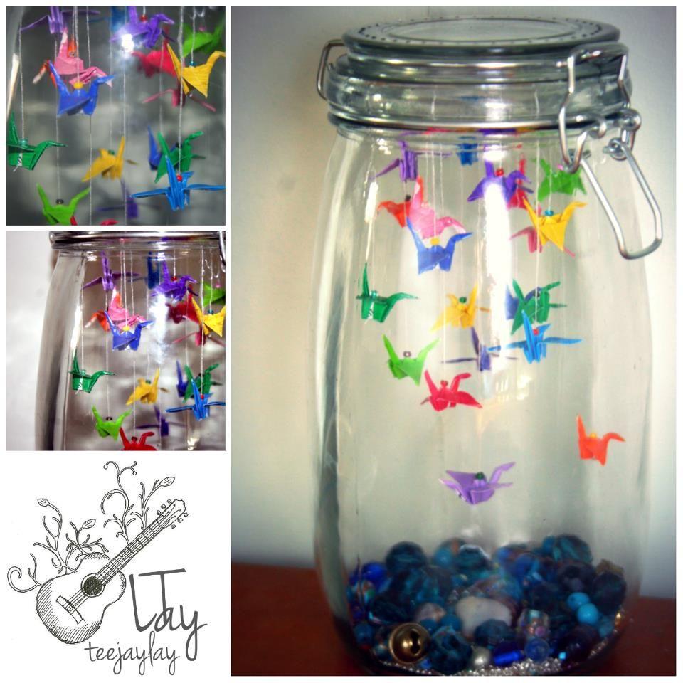 origami in a manson jar visit wwwteejaylaycouk
