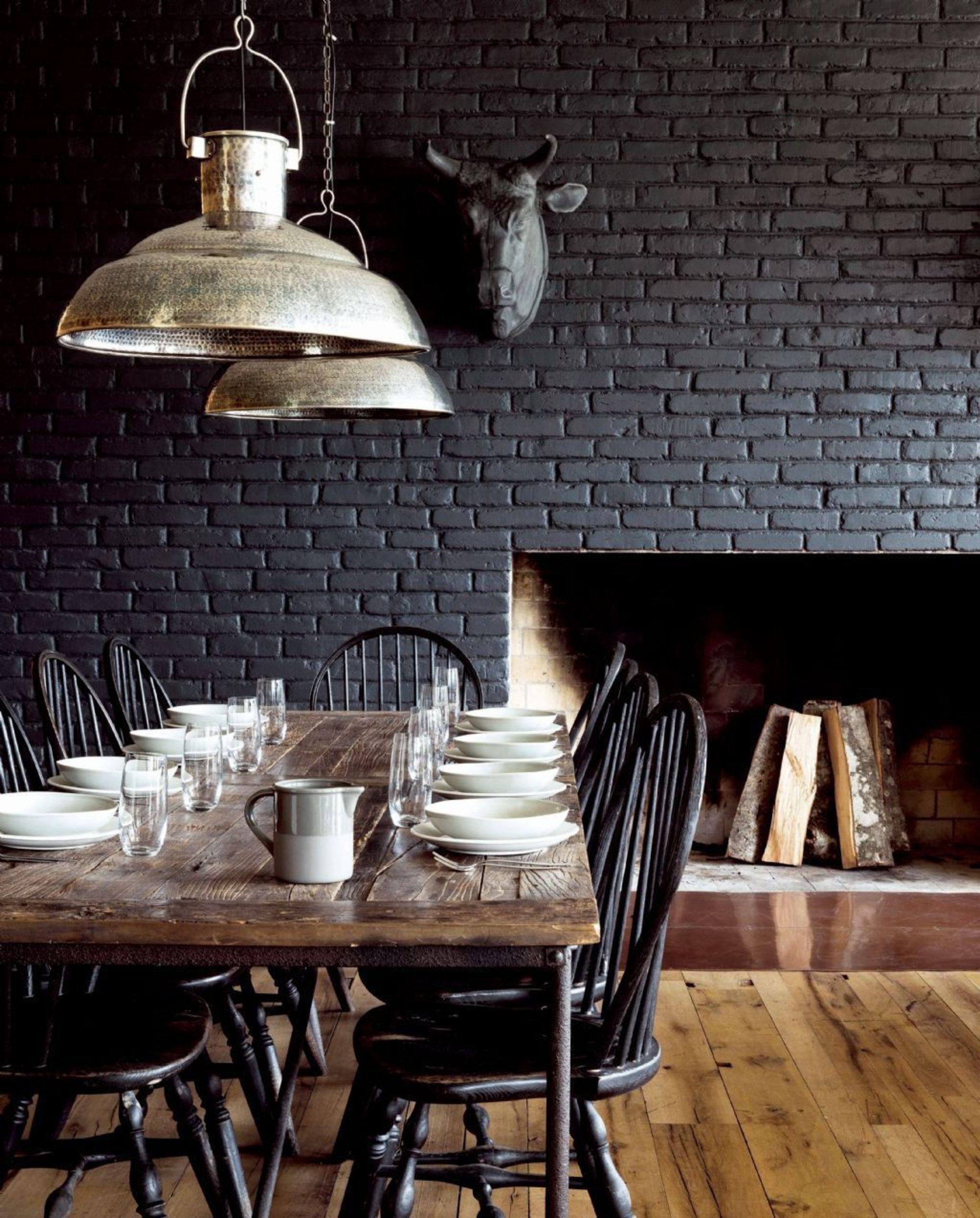 Black brick wall interior - 28 Ideas For Black Wall Interior Styling