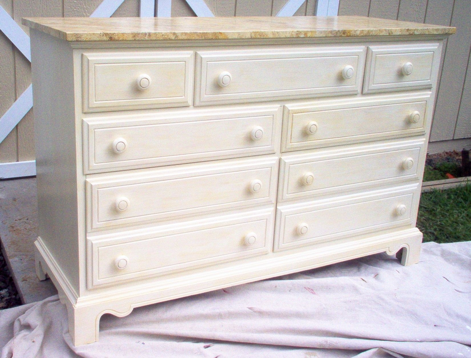 Dresser painted white with faux marble top