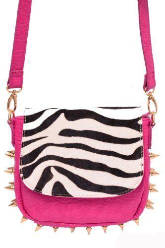Amazon.com  ZEBRA Studs   Spikes Designer Inspired Celebrity Style Black  Faux Leather Handbag by Jersey Bling (Zebra)  Clothing 9619f435c03ec