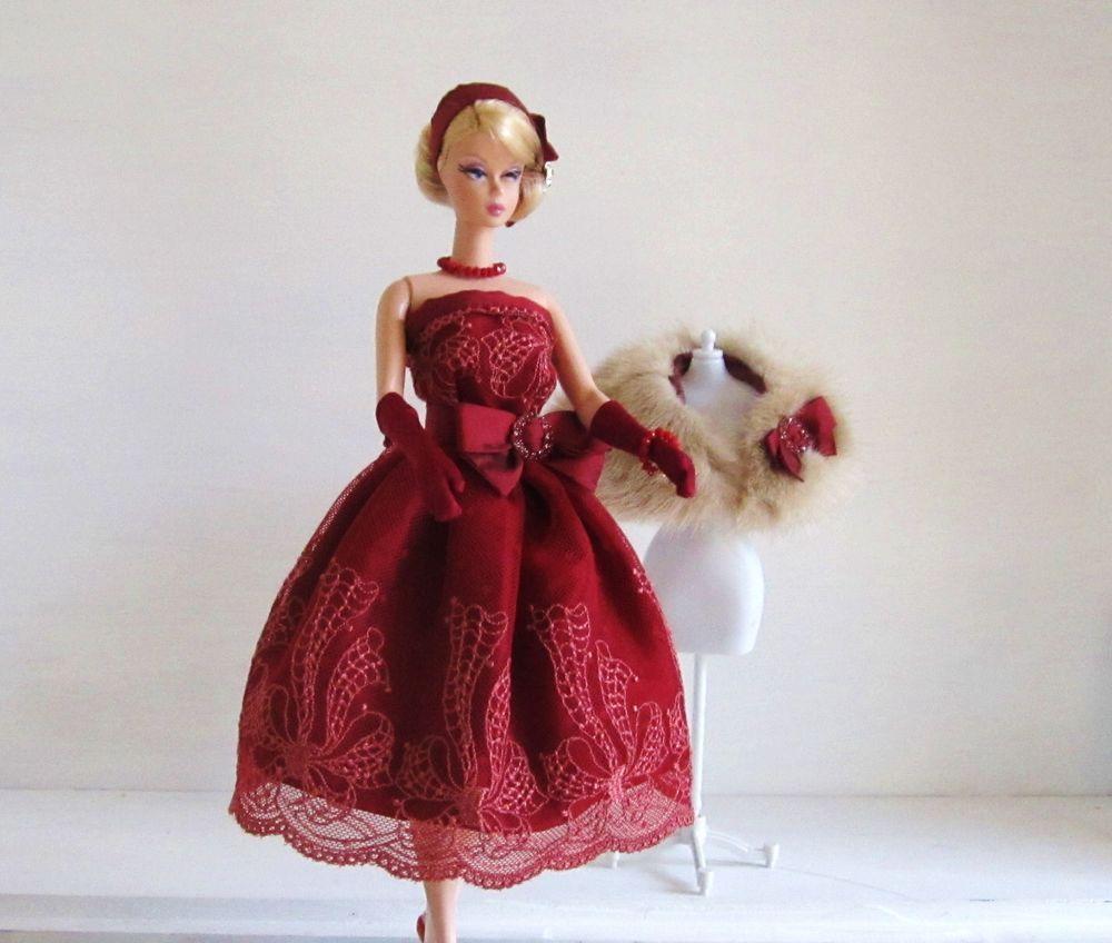 Handmade vintage barbie silkstone fashion christmas bows garnet red
