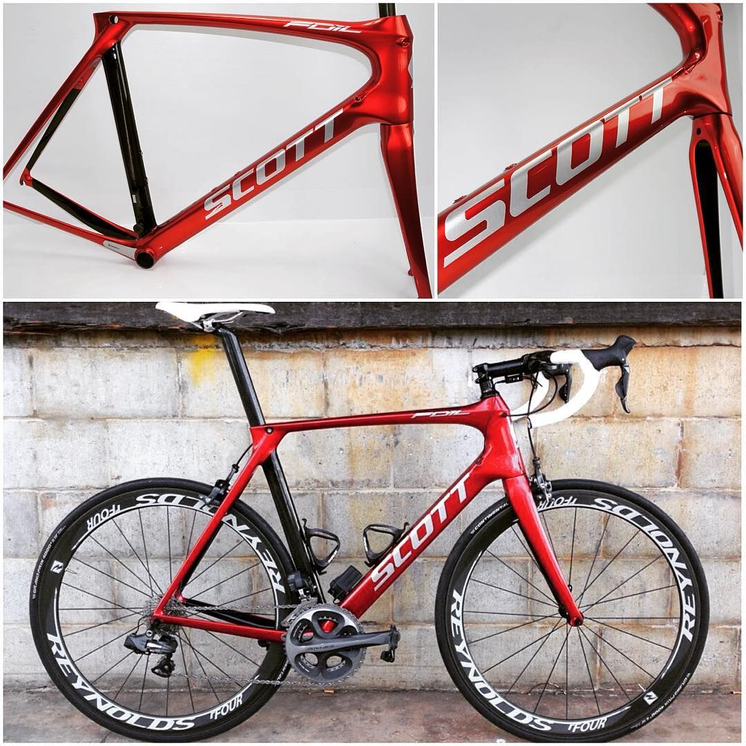 adccd1888ed #scottbikes #scottfoil #aeroroad #aeroroadbike #candyred #candyapplered  #customised #nudecarbon #carbon #roadbike #roadcycling #cycling