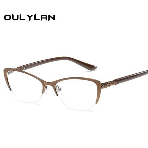 07f8e930f5 Oulylan Cat Eye Reading Glasses Women Anti-Fatigue Presbyopic Glasses Men High  Quality Metal Frame Eyeglasses Prescription
