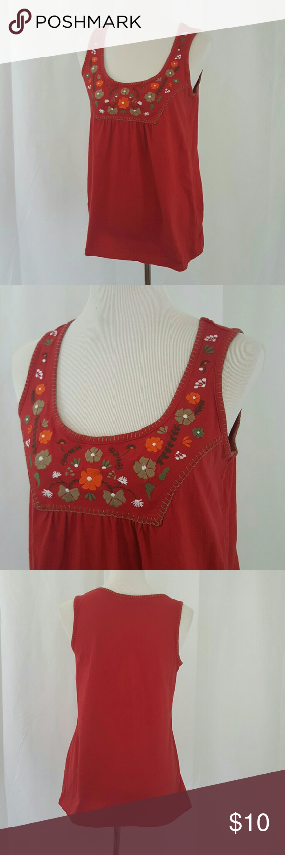 French Laundry Floral Embroidered Tank M EUC.  Red cotton floral tank. The bust is embroidered with sahe green and oranfe flowers.   French Laundry Bust 36 Length 28 french laundry Tops Tank Tops