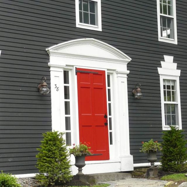 Red door on a dark grey house exterior siding colors - What color door goes with gray house ...