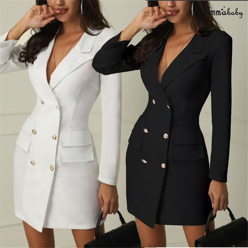 New Plus Size Women V Neck Long Sleeve Double-breasted Casual OL Short Dress