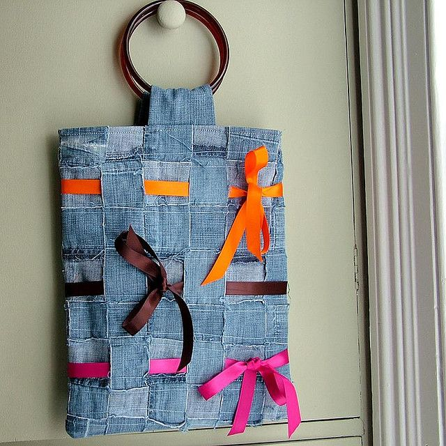 Woven recycled denim tote bag with ribbons made by memake