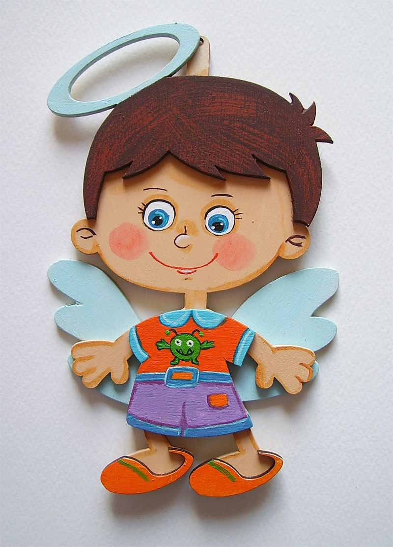 Personalized custom wooden hand painted angel dwarf birth christening baptism folk kids nursery wall art decorative children baby boy room colorful present cheerful colourful beautiful gorgeous summer wood decor child portrait brown merry joyful wings ornament keepsake religious blue shoes smile birthday funny souvenir gift orange catholic christian country happy violet holy rural purple