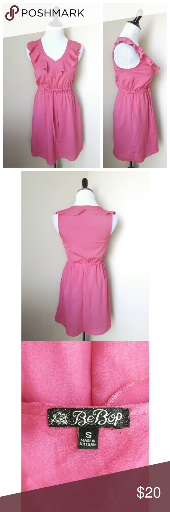 {bebop} pink ruffle dress An adorable pink dress from bebop  Features a ruffled neckline, a drawstring elastic waist, and best of all, pockets!!  Gently worn Size small BeBop Dresses