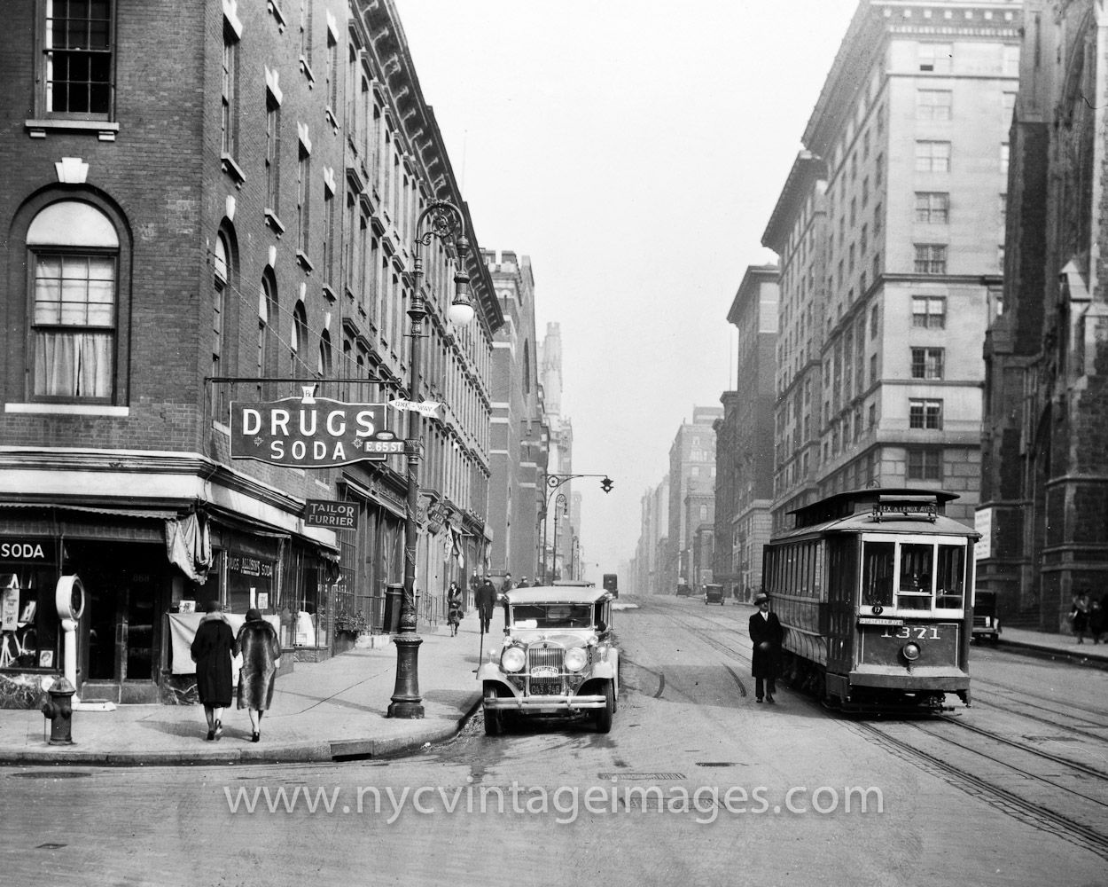 Ca 1925 Lexington Avenue Trolley At 65th St Looking