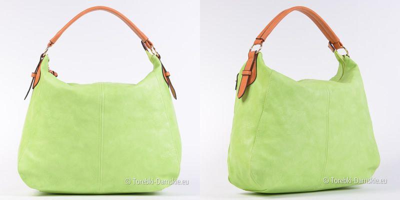 Torebka damska w kolorze limonkowej jasna efektowna zieleń