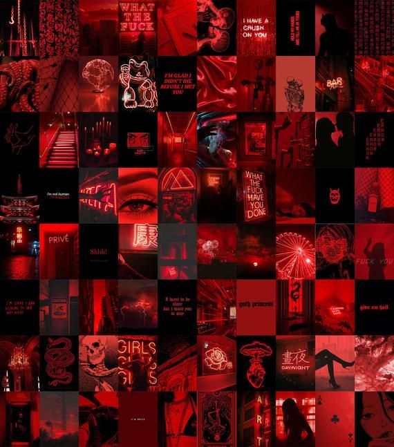 RED Wall Collage Kit Aesthetic Grunge Tumblr Decor (Digital Prints) 80 pcs A5 size
