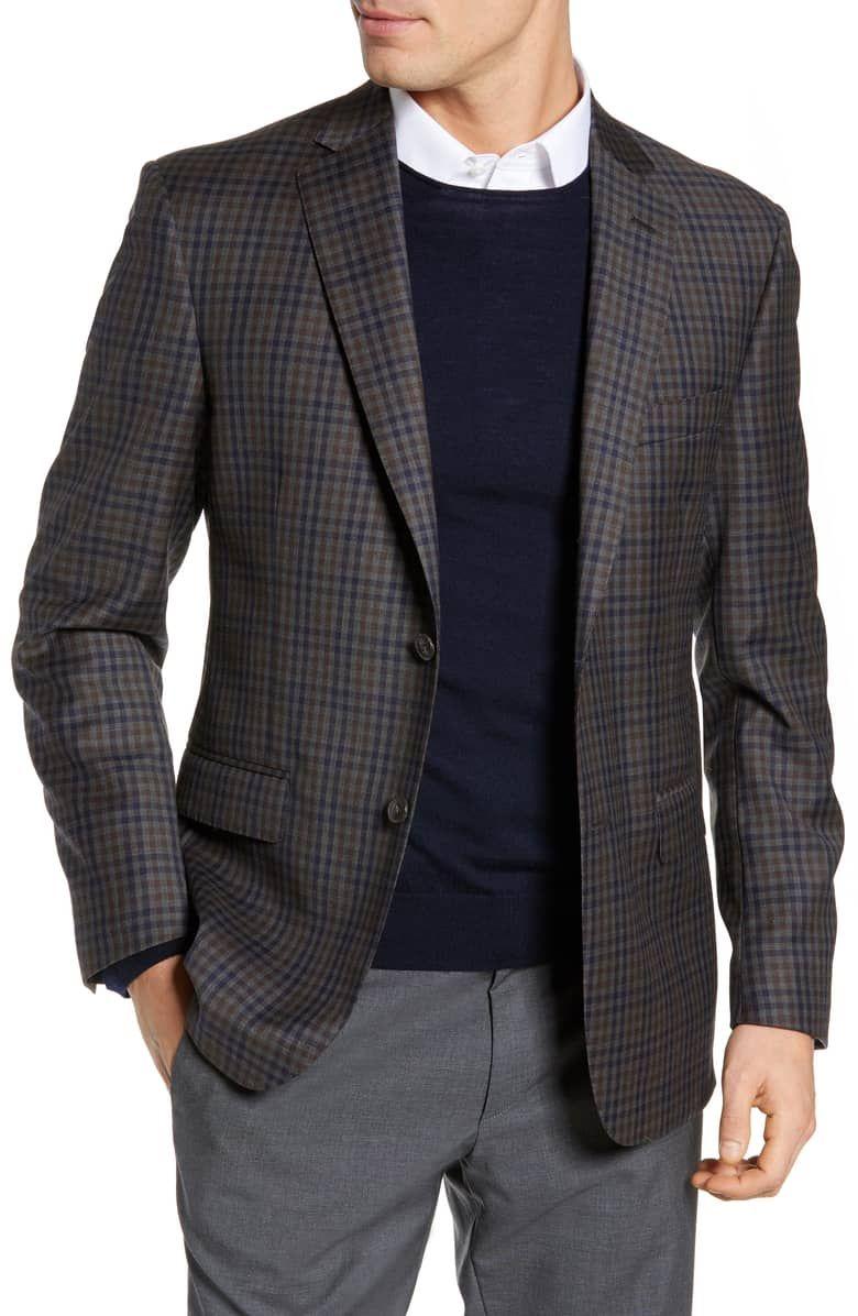 JB Britches Classic Fit Check Wool Sport Coat Mens