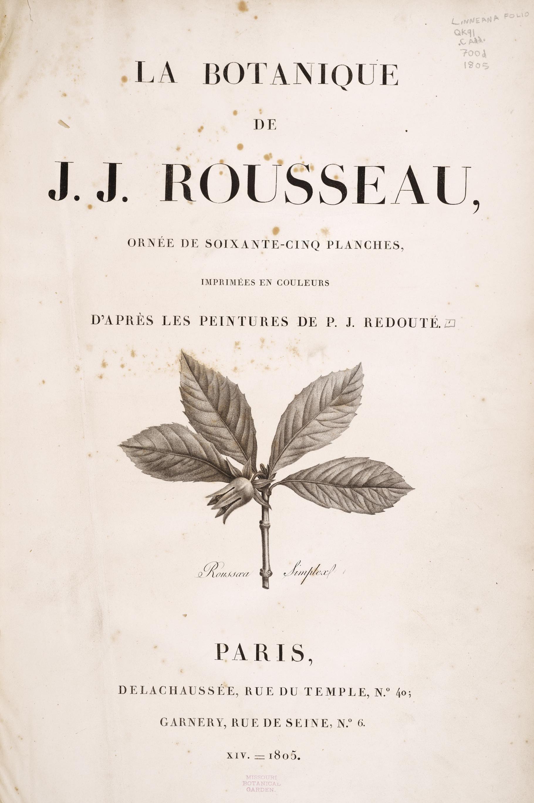 La Botanique Book By Rousseau Botanique Rousseau Et Histoire