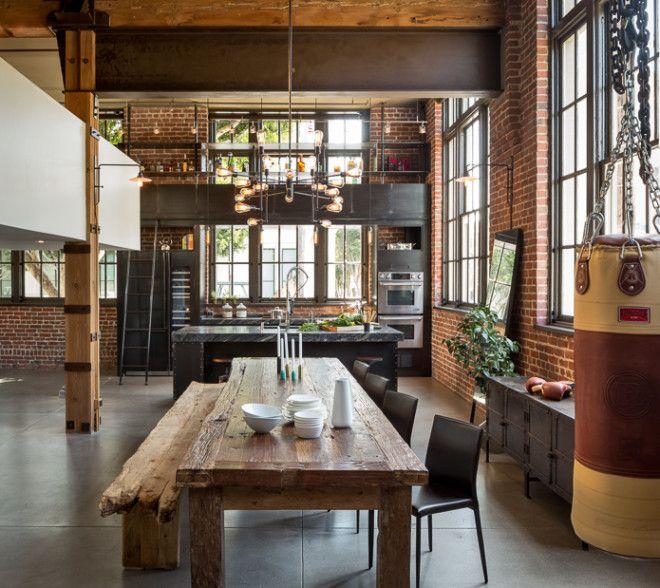 Salle manger aux murs de briques table et banc en bois pour un int rieur industriel et - Table et banc salle a manger ...