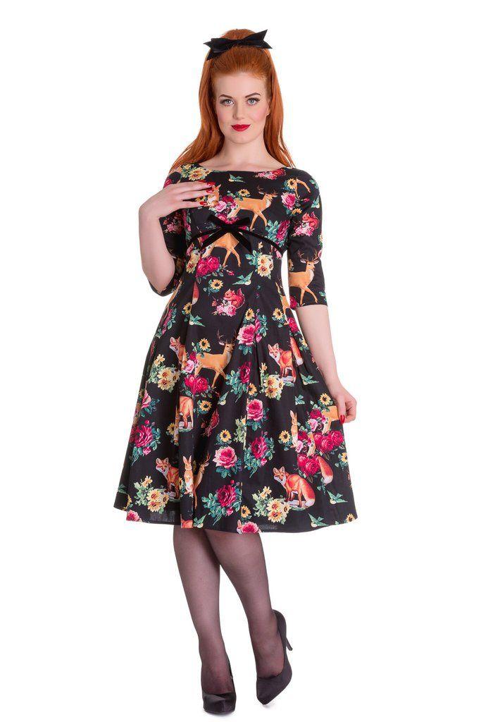 Höllenhäschen Retro Hermeline Forest Animals & Flower Print Wunderland Flare Kleid