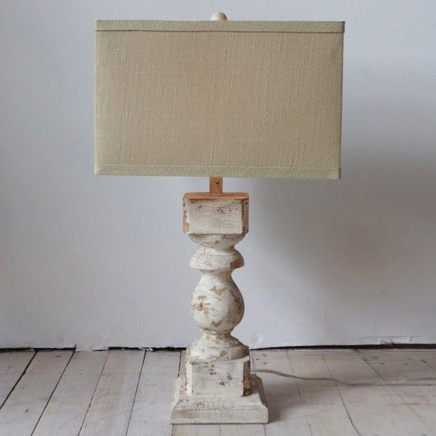 Distressed Wood Column Table Lamp With Square Linen Shade Wood And Metal Table Metal Table Lamps Wood Columns
