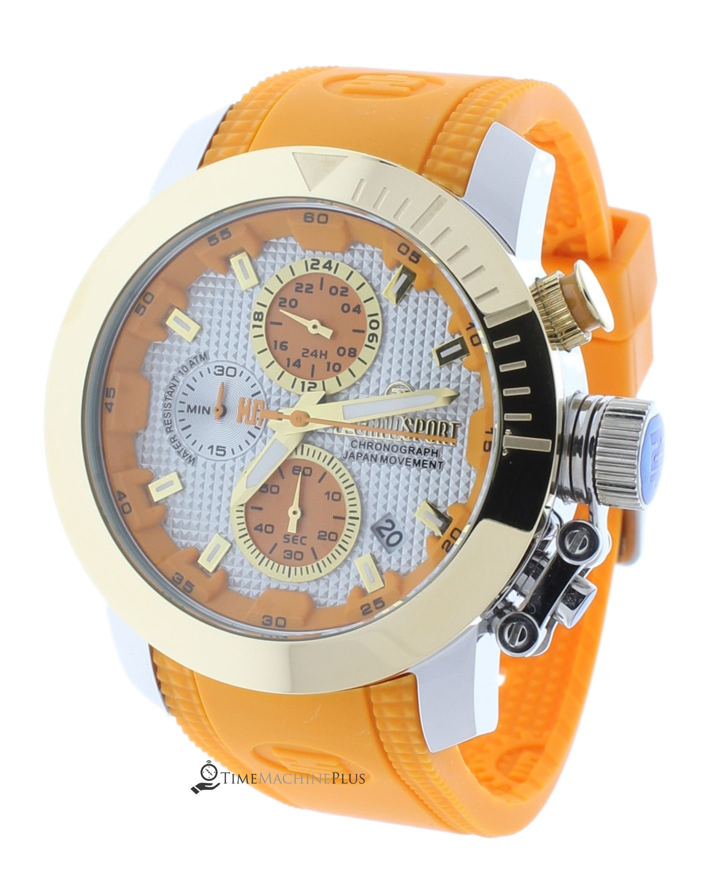 0dc9882e283 Technosport TS-231-4 Unisex Sports Orange Watch Japan Chronograph Gold-Tone  Bezel