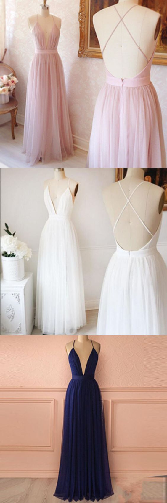 White deep v neck long party dress backless tulle formal gown with