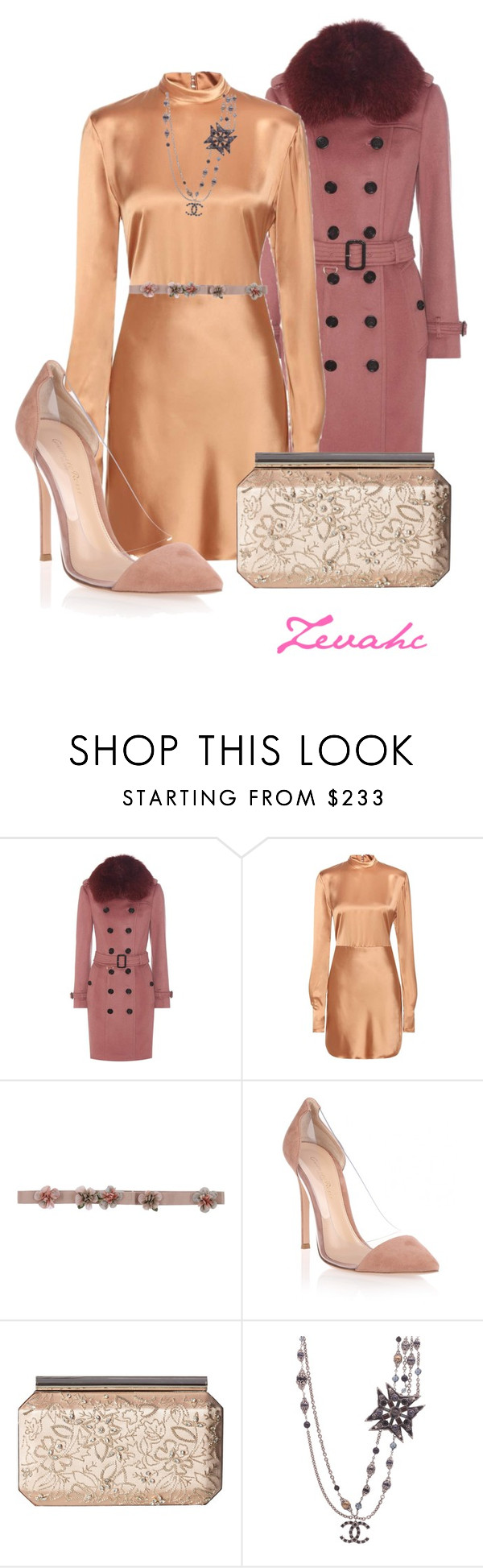 """""""Let's go out"""" by zevahcmary ❤ liked on Polyvore featuring Burberry, Acne Studios, Alberta Ferretti, Gianvito Rossi, Oscar de la Renta and Chanel"""