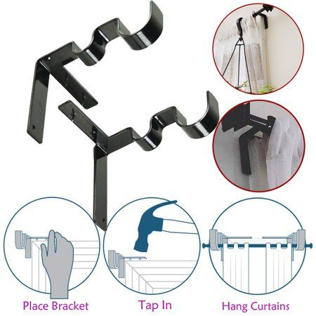 1 Pair Hang Curtain Rod Holders Tap Right Into Window Frame Curtain Rod Bracket Hanging