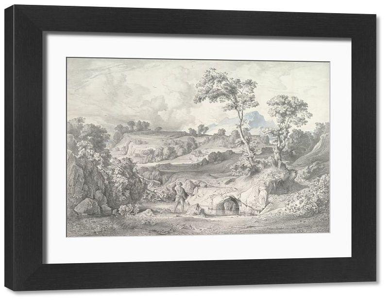 Framed Print. Southern landscape with a man and a snake, 1847. Creator: Heinrich Dreber