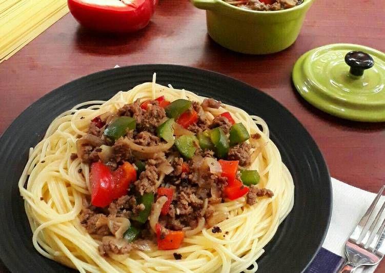 Resep Spaghetti Lada Hitam Oleh Sukmawati Rs Resep Resep Spageti Paprika