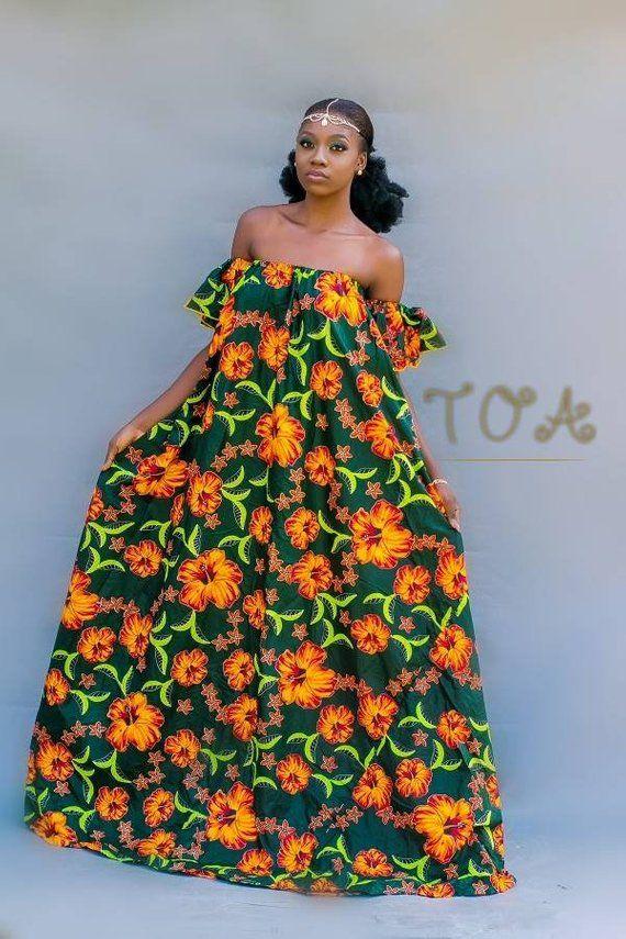 1a53ab3dc8774 Ankara Maxi Dress, African Print Maxi Dress, Kitenge off shoulder maxi dress