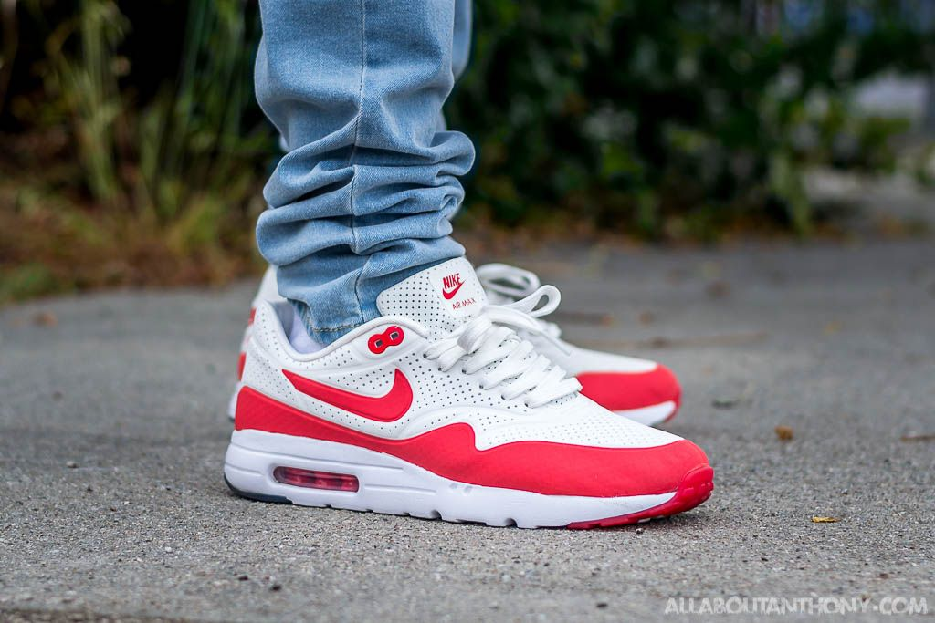 Nike Air Max 1 Ultra Moire White Red On Feet | Sneakers