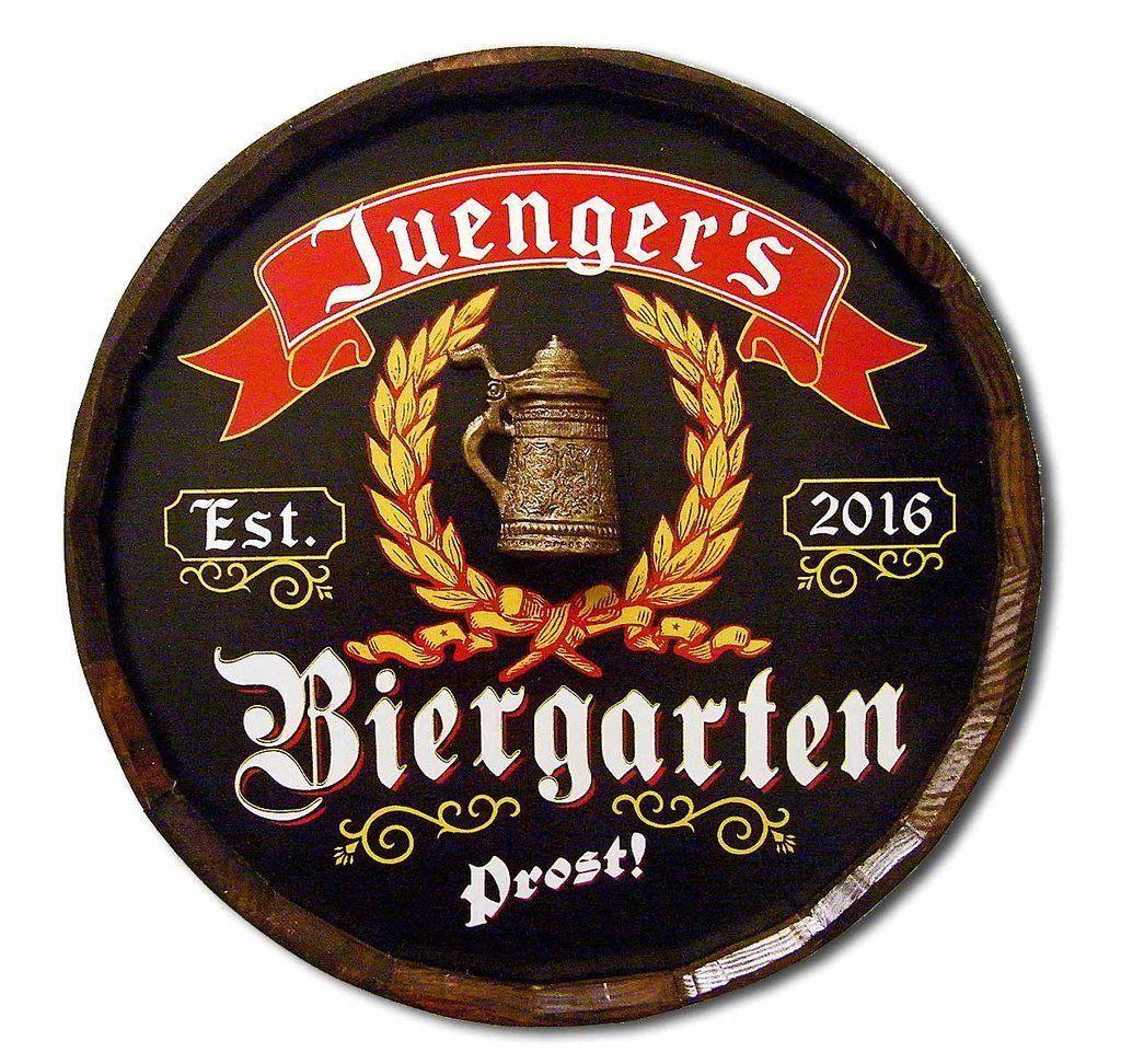 Man Cave Bar Beirgarten Beer Personalized Quarter Wood Barrel Sign Pub