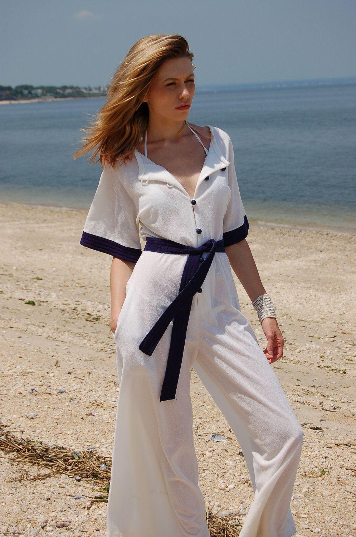 49636cea9cc Vintage 70s ROMPER White   Blue NAUTICAL Terry Cloth Palazzo JUMPSUIT.   72.00