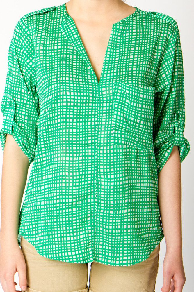 Hatch Print Chiffon Blouse