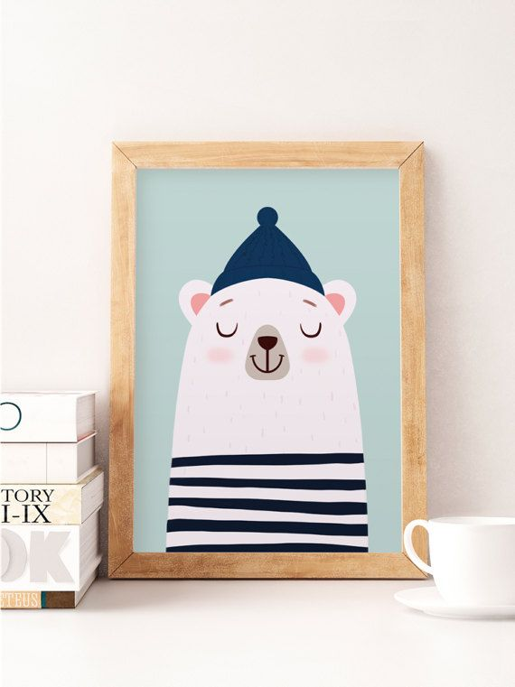 Photo of Bear print, white bear, nursery poster, kids wall art, cute art, nursery prints, pastel colors, baby nursery decor, kids illustration