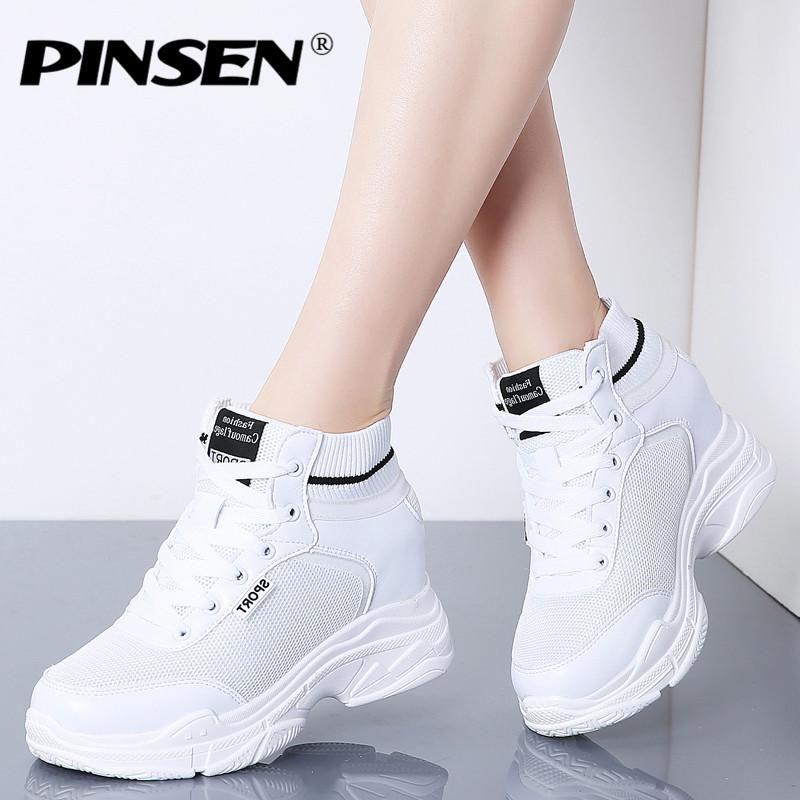 d7767054a63 PINSEN Spring Sneakers Women Flat Platform Shoes Breathable Mesh ...