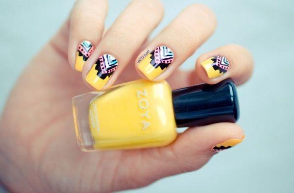 trendy yellow nail art